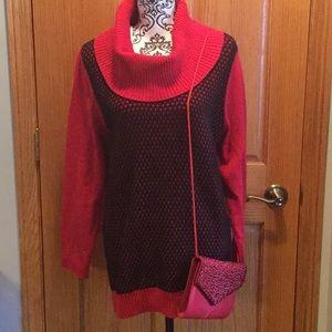 Calvin Klein cowl neck red/black sweater